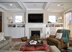 Ideas for contemporary fireplace with built-ins and TV nook.
