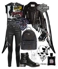 """""""Pull Out The Harley!"""" by anna-gabedava ❤ liked on Polyvore featuring Givenchy, Acne Studios, Alexander McQueen, MCM, MANGO, Harley-Davidson and Alexis Bittar"""