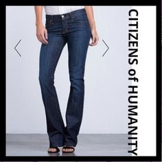 """CITIZENS of HUMANITY flare jeans These are relaxed, flare leg soft denim jeans from Citizens of Humanity. Have a cool distressed look to them in a medium colored Jean color. Color is truer to the up close photos. 98%cotton/2% elastin. Worn a hand full of times, preloved but in good condition. Approx measurements laying flat: front rise: 8 1/4""""/ back rise: 13 3/4""""/ inseam: 30""""/ straight across front button area:15 1/2""""/ perimeter of belt area:32""""/ width of bell bottom:10"""" Citizens of Humanity…"""
