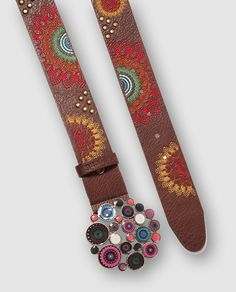 Cinturón Chapon Belt Dakota en color marrón con bordado a contraste - por  DESIGUAL  El 047f18476182