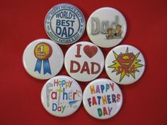 """Fathers Day set of 7 Pinback buttons,badges 1"""",1.25"""", 2.25Mn pins or/& Necklace #wtnabrand"""