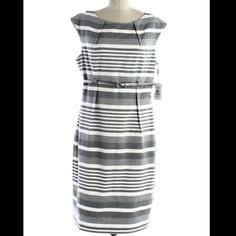 Nwot Calvin Klein White/Grey Belted Striped Dress