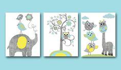 Nursery Art Print Nursery Print Elephant Wall Art Giraffe Wall Art Gray Blue Green Nursery Decor Kids Room Decor Playroom Art set of 3 8X10 by artbynataera on Etsy