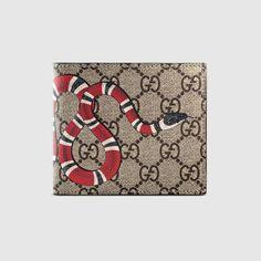 GUCCI Snake print GG Supreme coin wallet. #gucci #men's bi-fold