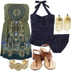 Boho strapless cover up dress - navy blue swimsuit for curvy women - gold accents