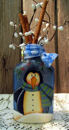 Penguin Hand Painted Blue Glass Bottle Winter Christmas Decor