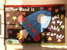 #Space #bulletinboard! #Rocketship! Out of this world! Preschool!