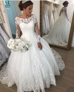 Elegant Scoop Neck Long Sleeve Ball Gown Wedding Dress With Lace Appliques vestido de noiva Wedding Bridal Gowns robe de mariee Princess Wedding Dresses, Modest Wedding Dresses, Bridal Dresses, Wedding Gowns, Lace Wedding, Wedding Veil, Trendy Wedding, Gowns With Sleeves, Wedding Dress Sleeves