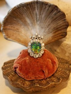 WOW! Mermaid themed ring from the late 1800s Antique Diamond and Opal Crown Ring