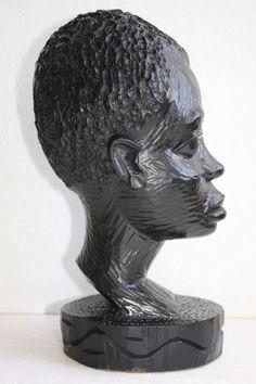 Vintage African Hand Carved Ebony Wood Tribal Folk Art Male Head Sculpture Heavy