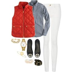 white jeans + gingham button down + J.Crew vest + Tory Burch flats