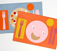 For the Kids' Table...teach children how to set the table with help from these cheery place mats. Colorful construction paper cut in the shapes of standard dinner essentials and glued to place mat-size paper is a guide for correct placement. Laminate the finished product at a copy center.