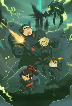 Wreck-It Ralph, Fix-It Felix, Sgt. Calhoun and Vanellope in Hero's Duty - Wreck-It Ralph. Seems like the girls win the bravery award. XD