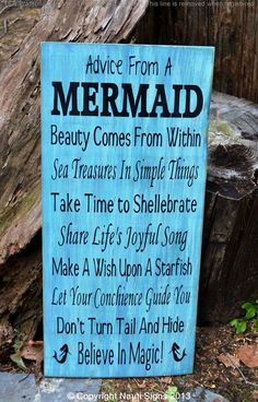Beach Signs, Beach Decor, Mermaid Sign, Advice From A Mermaid Wooden Plaque, Mermaids, Beach Sayings, Sayings on Wood, Beach Quotes, Mermad Décor, Beach Bathroom Hand Painted Wooden Plaque