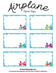 Free printable airplane name tags with a blue border and colorful airplanes. The template can also be used for creating items like labels and place cards. Download the PDF at http://nametagjungle.com/name-tag/airplane/