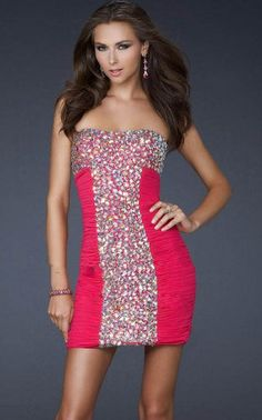 cocktail hot pink homecoming dress