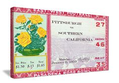 Football gifts made from vintage football tickets like this 1933 Rose Bowl ticket. USC won the 1932 National Title. The best football gifts are at http://www.shop.47straightposters.com/1933-USC-vs-Pitt-Football-Ticket-Art-33-Rose.htm