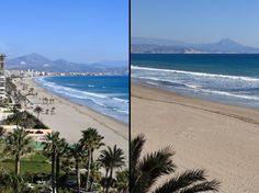 Playa de San Juan. Alicante.   La playa de San Juan es la más extensa de la ciudad. Situada a siete kilómetros al noreste del centro de la ciudad cuenta con una longitud de 3.000 metros y una anchura de unos 60 metros. Dispone de áreas deportivas y juegos infantiles y además la zona está dotada de todo tipo de servicios e infraestructuras.