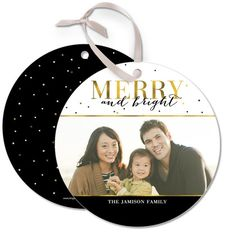 Golden Holiday - Ornament Cards come in a shimmery gold, black and white design. #Christmas