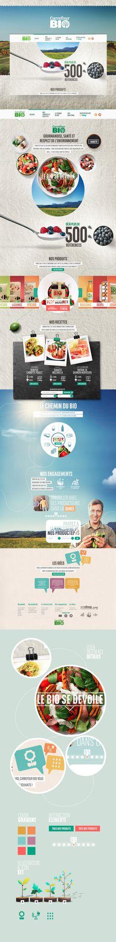 Carrefour Bio On Behance By Thomas Ciszewski Webdesign It Web Design Layout Userinterface Website We 2 Website Design Inspiration, Web Design Inspiration, Web Responsive, Ecommerce, Web Layout, Layout Design, Flat Website, Branding, Design Typo