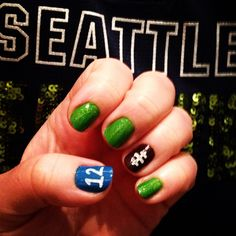 Seattle Seahawks Nails #Superbowl. Poulsbo Children's Dentistry, pediatric dentist in Poulsbo, WA @ www.poulsbochildrensdentistry.com