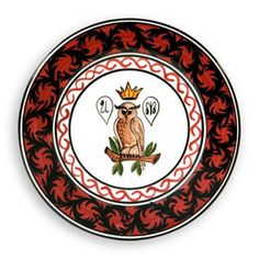 "Contrade Dinnerware in Owl Pattern, Dinner Plate	11"" for $90 via Biordi   The Owl (Civetta), for centuries has represented the ""Rione della Civetta"" during the Palio horse race. ""Rione"" stands for Neighborhood.  Charger Plate 13"" $130.00 Dinner Plate	11"" $90.00 Pasta/Soup Bowl	9"" $70.00 Salad Plate	9"" $65.00 Dessert Plate	7"" $50.00"