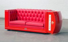 Red Phone Booth Lounger Quirky Couches Made from Repurposed Materials. LAL English Language schools love it!