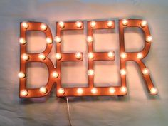 Rusted Recycled Metal Vintage Inspired BEER sign with lights by TheRusticBarnAZ