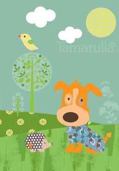 Wondering puppy  print for nursery 5x7 inch 13x18cm by tamarulla, $14.00