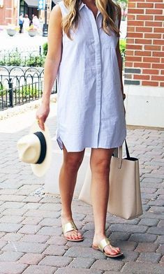 Minimalist metallic sandals are just what you need to complete your shirtdress look.