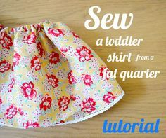 Sew a toddler skirt from a fat quarter of fabric! A beginners tutorial - so easy!!