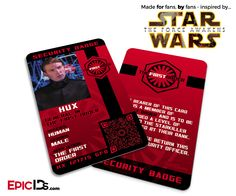 Star Wars TFA Inspired - The First Order - General Hux Security Badge