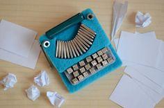 Felt Blue Typewriter Brooch. #Etsy