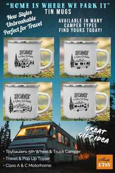New RV Tin Mug Designs: Home is Where we Park It, available in different RV Types! From Class A to Truck Campers we've got you covered because we know how proud you are of your RV! These won't break when dropped and make a great gift for the RV Owner! #rvliving #rvdecor #rvtinmug #rvmug #campermug #campingmug #campingtinmug #rvkitchen #rvtravel #rvgear #travelgear #etsy #shopsmall #trending2020 #trending #holidaygiftideas #affiliate