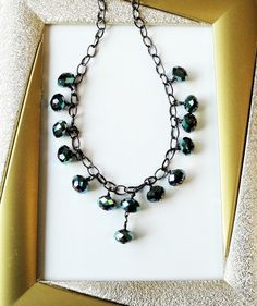 Blue Aqua Crystal Sparkly Faceted Dangles Gunmetal by BijiBijoux, $35.00