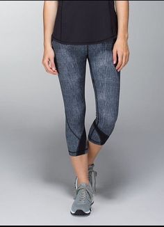 Lululemon Run: Inspire Crop II *All Luxtreme Burlap TextureDune/Black Sz 6 #Lululemon #PantsTightsLeggings