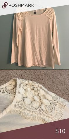 Old Navy Top Simple tee with lace shoulders for added detail. In good condition Old Navy Tops