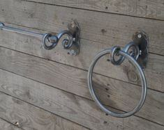 Set of hand forged towel ring and toilet paper holder, Bathroom Accessories, Wrought iron, Blacksmith, Bath set, Scroll design