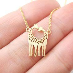 Kissing Giraffe Animal Shaped Silhouette Charm Bracelet in Gold