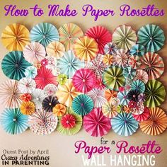 Here's a fun and gorgeous way to dress up any wall - gorgeous paper rosettes! Learn how to make paper rosettes with this tutorial! Easy Paper Crafts, Scrapbook Paper Crafts, Diy Paper, Diy Crafts, Scrapbook Paper Flowers, Scrapbooking, Resin Crafts, Paper Crafting, How To Make Rosettes