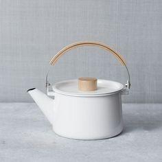 modern white minimalist enamel tea pot