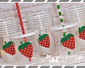 Strawberry Birthday Party, Set of 8 or 12 You Choose Party Cups, Favor Cups or Reusable Souvenir Cup