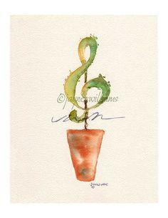 Music Topiary Fine Art Print of my original watercolor painting