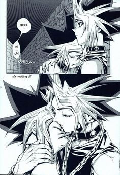Puzzleshipping comforting each other while within the Millennium Puzzle... Yami Yugi AKA (Atem) and Yugi.