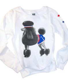 Athletic Poodle Dog Photo 70s Vintage Style Loose Fitting Sweater Top