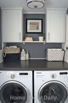 Laundry room ideas small space well used. the window would fall between the cabinets. Too bad there is not enough room for front loaders.