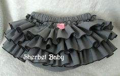 Ruffle Diaper Cover Sassy Pants in Gray & Edged in Black or Colors of your Choice $30.00