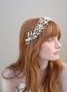 Baby's Breath crystal hair vine - Style # 336 (2013, babys breath, crystal hair vine, hair adornments, hair vine, headbands, headpieces, twigs & honey, view all, whimsical bridal hair) | Headpieces | Twigs & Honey ®, LLC
