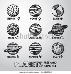 Set of hand drawn planet icons with names and astronomical symbols - mercury venus earth mars jupiter saturn uranus neptune pluto. Planeta Venus, Venus Tattoo, Saturn Tattoo, Tattoo Moon, Tattoo Set, Tattoo Planeta, Planet Icon, Pluto Planet, Drawing Tips