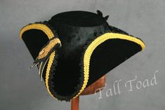 4ca5a8e0facba Black Velvet Commodore Tricorn with gold braid and cockade Crushed Velvet